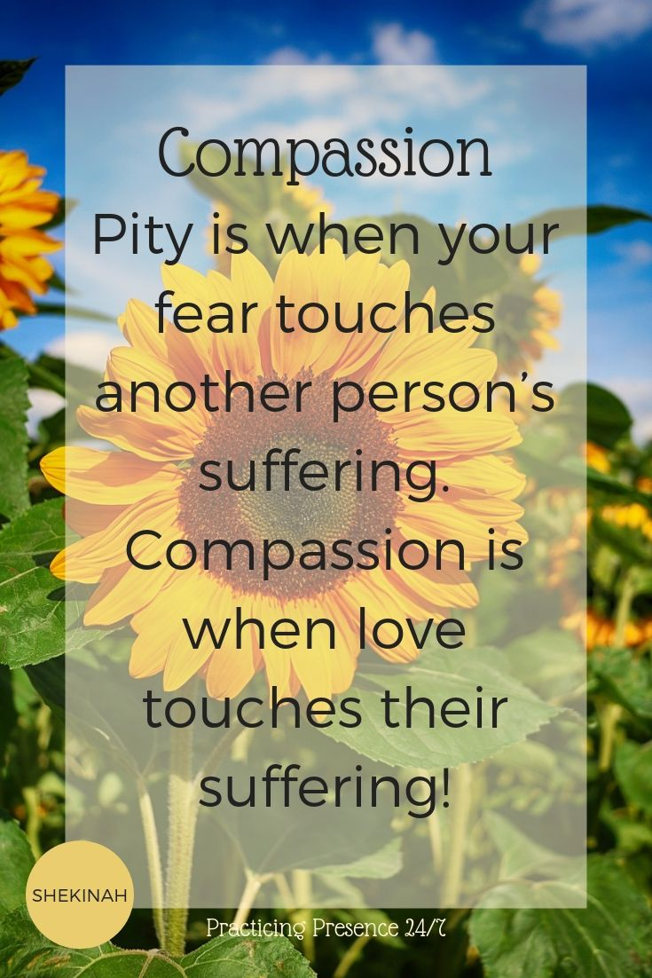 Pity is when your fear touches another person's suffering. Compassion is when love touches their suffering!