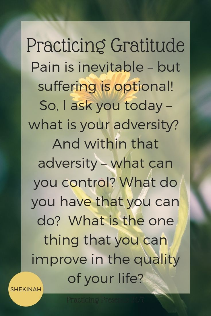 pain is inevitable – but suffering is optional! So, I ask you today – what is your adversity? And within that adversity – what can you control? What do you have that you can do? What is the one thing that you can improve in the quality of your life?
