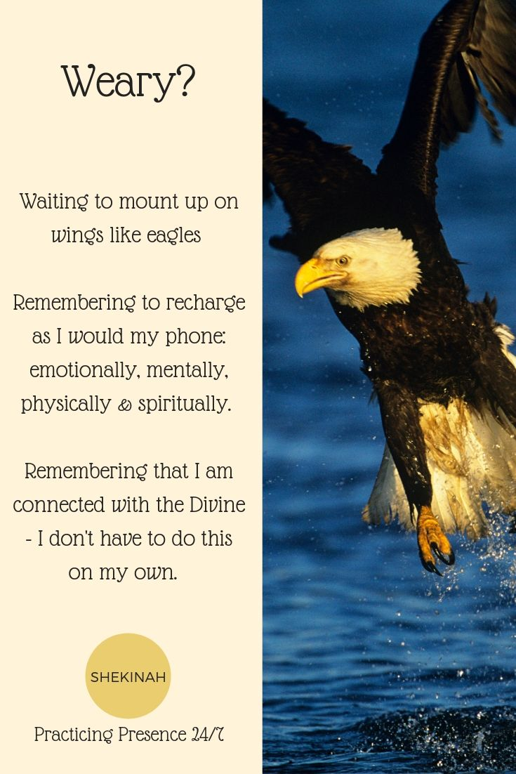 Waiting to mount up on wings like eagles Remembering to recharge as I would my phone: emotionally, mentally, physically & spiritually. Remembering that I am connected with the Divine - I don't have to do this on my own.