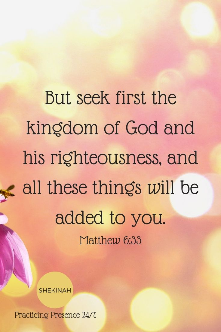 But seek first the kingdom of God and his righteousness, and all these things will be added to you.