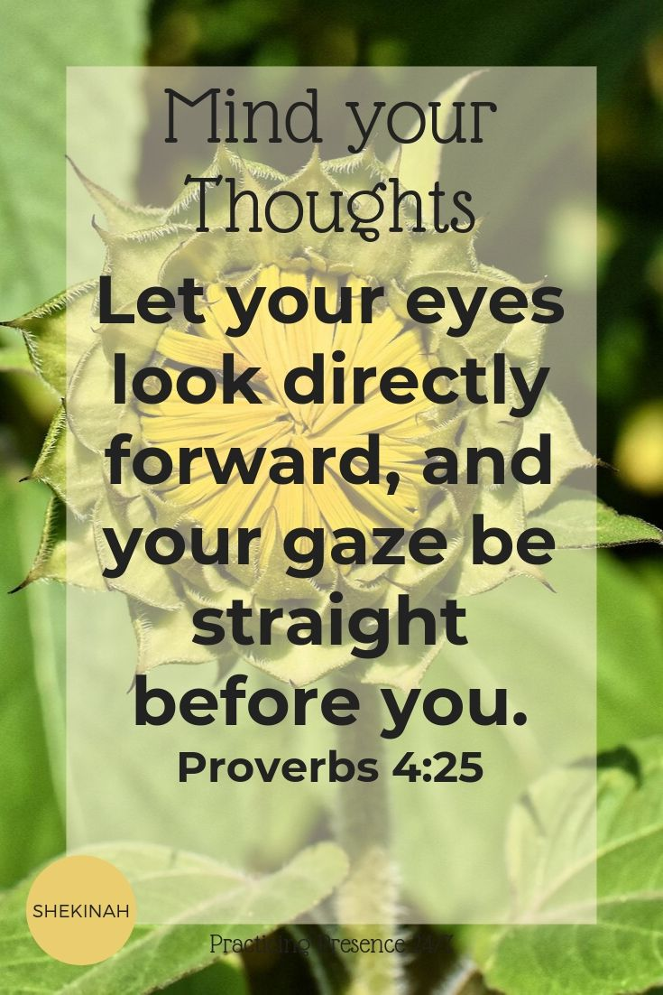 Let your eyes look directly forward, and your gaze be straight before you. Proverbs 4:25