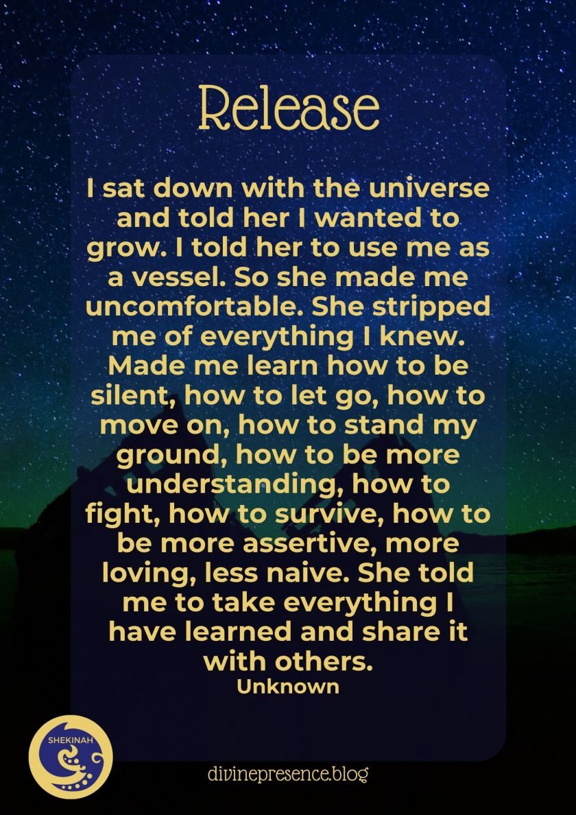 I sat down with the universe and told her I wanted to grow. I told her to use me as a vessel. So she made me uncomfortable. She stripped me of everything I knew. Made me learn how to be silent, how to let go, how to move on, how to stand my ground, how to be more understanding, how to fight, how to survive, how to be more assertive, more loving, less naive. She told me to take everything I have learned and share it with others. Unknown