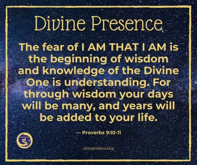 The fear of I AM THAT I AM is the beginning of wisdom and knowledge of the Divine One is understanding. For through wisdom your days will be many and years will be added to your life.