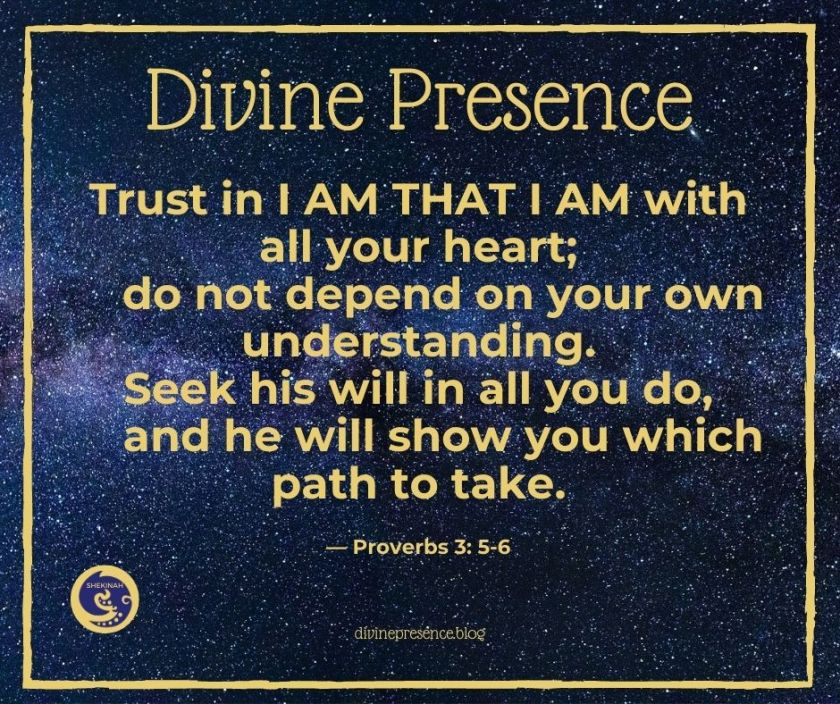 Trust in I AM THAT I AM with all your heart; do not depend on your own understanding. Seek Divine will in all you do, and the Divine will show you which path to take.