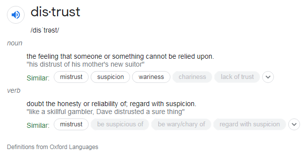 distrust, feeling that someone or something cannot be relied upon, doubt the honest or reliability of, regard with suspicion, definitions from Oxford Languages